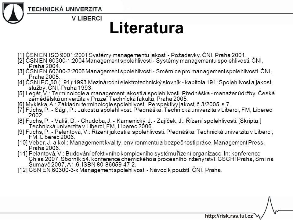 Literatura [1] ČSN EN ISO 9001:2001 Systémy managementu jakosti - Požadavky.