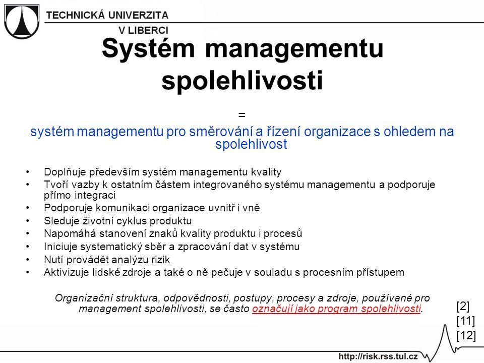 Systém managementu spolehlivosti = systém managementu pro směrování a řízení organizace s ohledem na spolehlivost Doplňuje především systém managementu kvality Tvoří vazby k ostatním částem integrovaného systému managementu a podporuje přímo integraci Podporuje komunikaci organizace uvnitř i vně Sleduje životní cyklus produktu Napomáhá stanovení znaků kvality produktu i procesů Iniciuje systematický sběr a zpracování dat v systému Nutí provádět analýzu rizik Aktivizuje lidské zdroje a také o ně pečuje v souladu s procesním přístupem Organizační struktura, odpovědnosti, postupy, procesy a zdroje, používané pro management spolehlivosti, se často označují jako program spolehlivosti.