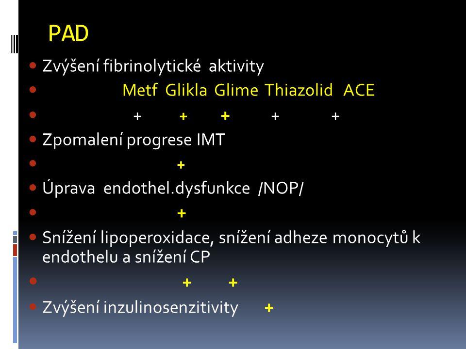PAD Zvýšení fibrinolytické aktivity Metf Glikla Glime Thiazolid ACE + + + + + Zpomalení progrese IMT + Úprava endothel.dysfunkce /NOP/ + Snížení lipoperoxidace, snížení adheze monocytů k endothelu a snížení CP + + Zvýšení inzulinosenzitivity +