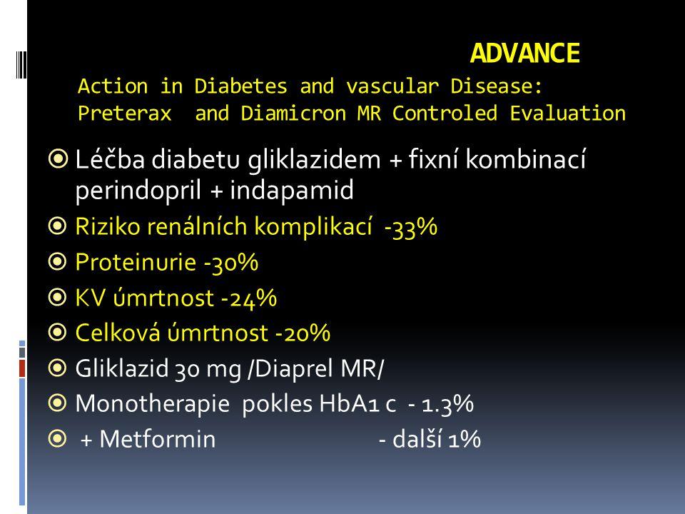 ADVANCE Action in Diabetes and vascular Disease: Preterax and Diamicron MR Controled Evaluation  Léčba diabetu gliklazidem + fixní kombinací perindopril + indapamid  Riziko renálních komplikací -33%  Proteinurie -30%  KV úmrtnost -24%  Celková úmrtnost -20%  Gliklazid 30 mg /Diaprel MR/  Monotherapie pokles HbA1 c - 1.3%  + Metformin - další 1%