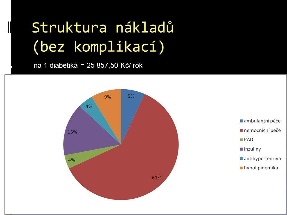 Struktura nákladů (bez komplikací) A na 1 diabetika = 25 857,50 Kč/ rok