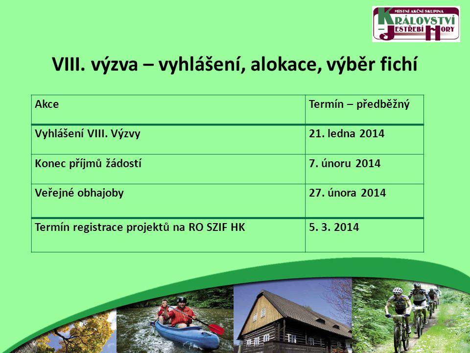 VIII. výzva – vyhlášení, alokace, výběr fichí AkceTermín – předběžný Vyhlášení VIII. Výzvy21. ledna 2014 Konec příjmů žádostí7. únoru 2014 Veřejné obh