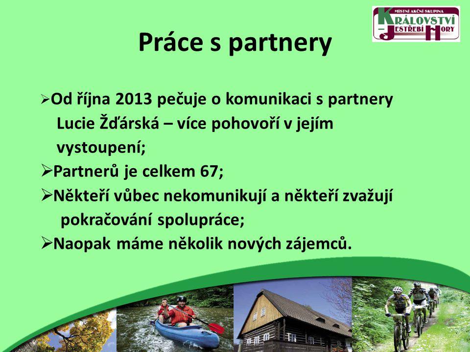 Práce s partnery  Od října 2013 pečuje o komunikaci s partnery Lucie Žďárská – více pohovoří v jejím vystoupení;  Partnerů je celkem 67;  Někteří vůbec nekomunikují a někteří zvažují pokračování spolupráce;  Naopak máme několik nových zájemců.