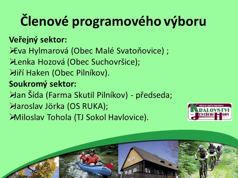 Členové programového výboru Veřejný sektor:  Eva Hylmarová (Obec Malé Svatoňovice) ;  Lenka Hozová (Obec Suchovršice);  Jiří Haken (Obec Pilníkov).
