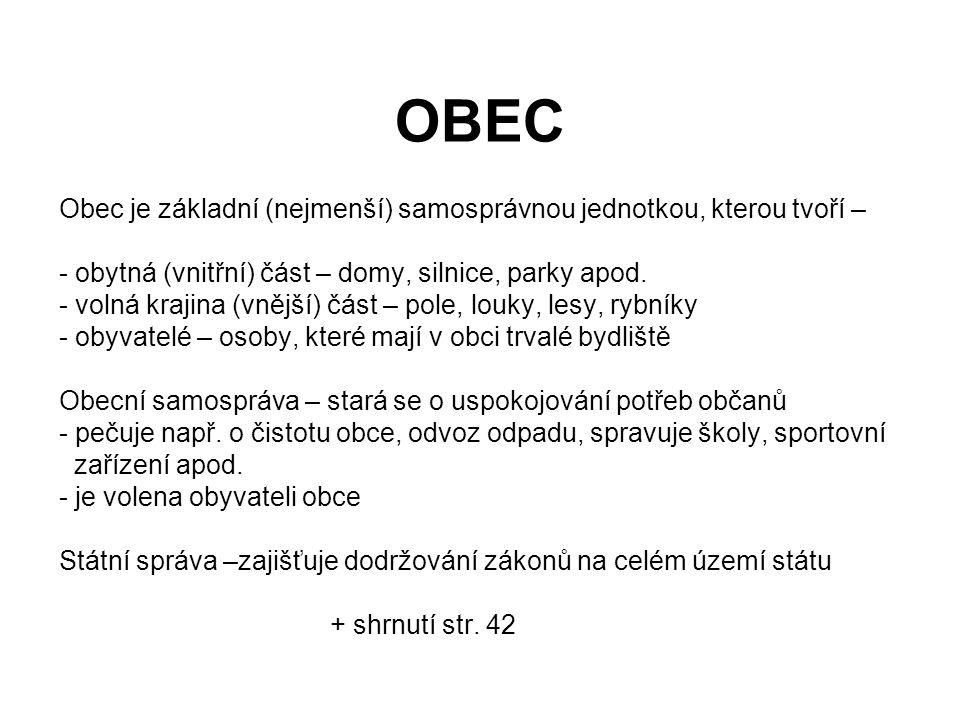 OBEC Obec je základní (nejmenší) samosprávnou jednotkou, kterou tvoří – - obytná (vnitřní) část – domy, silnice, parky apod. - volná krajina (vnější)