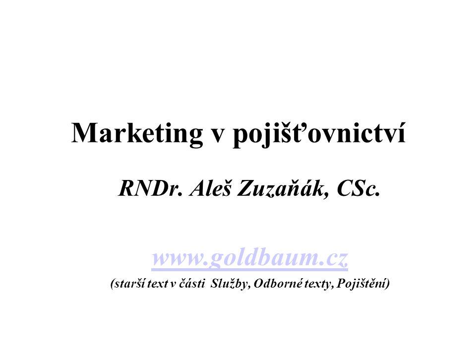 Marketing v pojišťovnictví RNDr. Aleš Zuzaňák, CSc.
