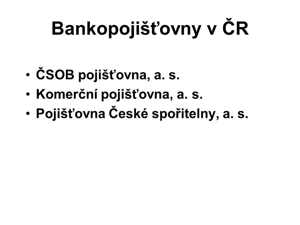 Bankopojišťovny v ČR ČSOB pojišťovna, a. s. Komerční pojišťovna, a.
