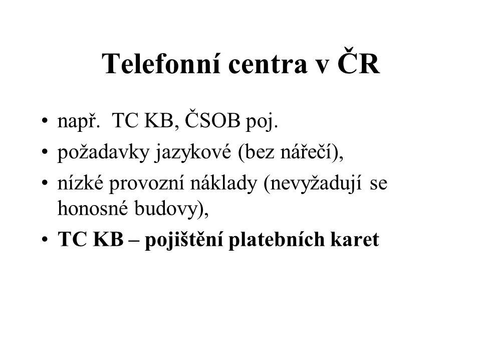 Telefonní centra v ČR např. TC KB, ČSOB poj.