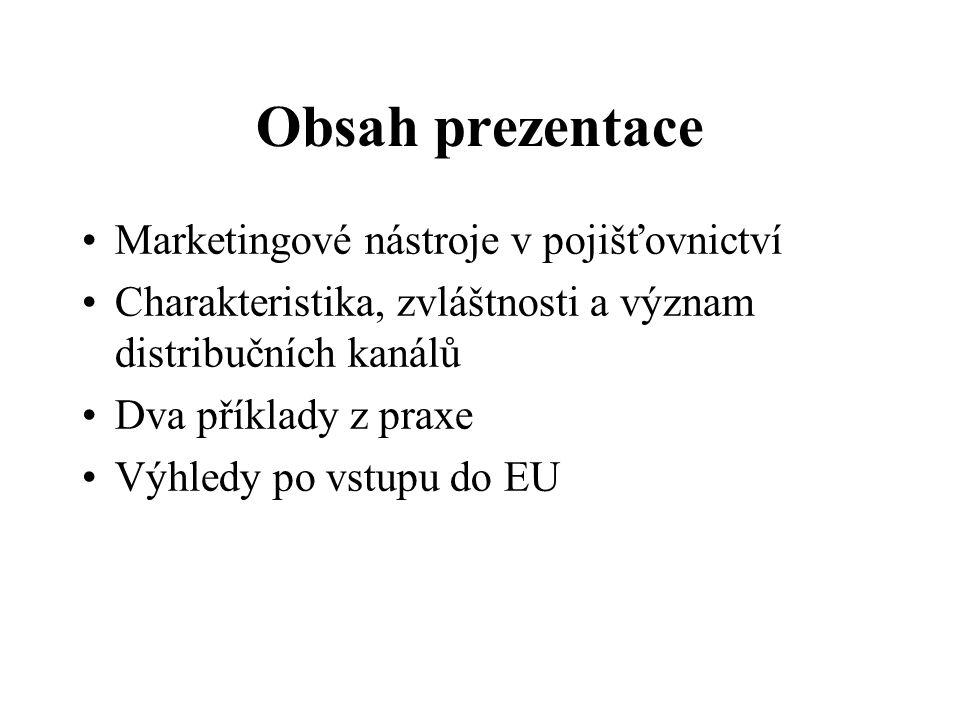 Obsah prezentace Marketingové nástroje v pojišťovnictví Charakteristika, zvláštnosti a význam distribučních kanálů Dva příklady z praxe Výhledy po vstupu do EU