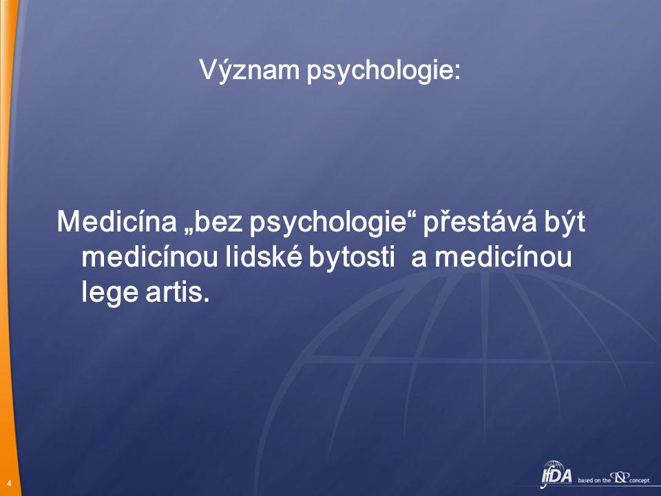"""4 Význam psychologie: Medicína """"bez psychologie přestává být medicínou lidské bytosti a medicínou lege artis."""