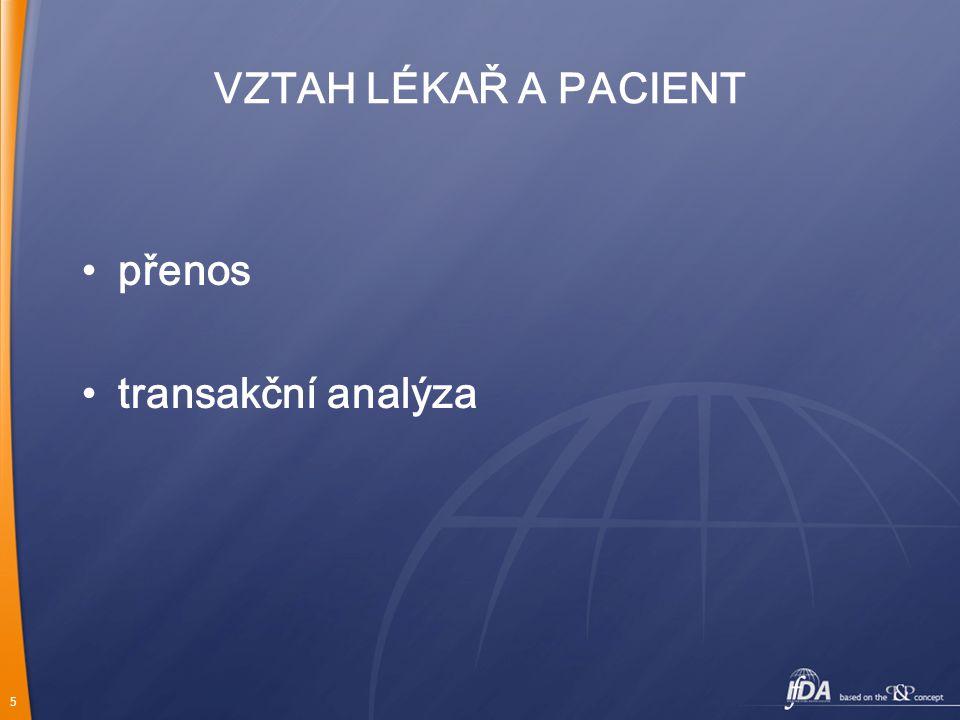 5 VZTAH LÉKAŘ A PACIENT přenos transakční analýza