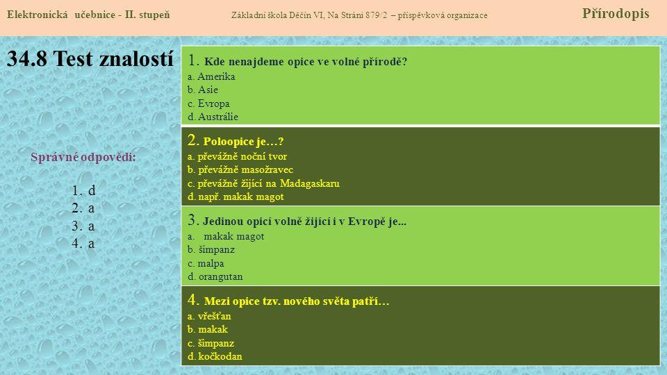 34.8 Test znalostí Elektronická učebnice - II.