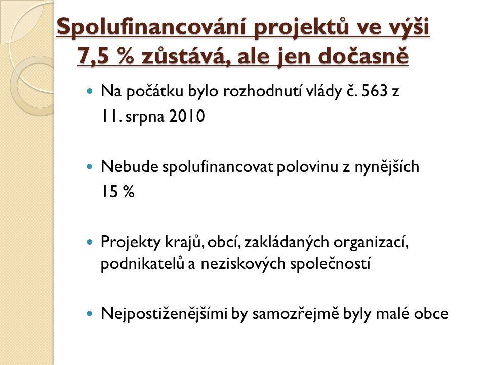 Spolufinancování projektů ve výši 7,5 % zůstává, ale jen dočasně Na počátku bylo rozhodnutí vlády č. 563 z 11. srpna 2010 Nebude spolufinancovat polov