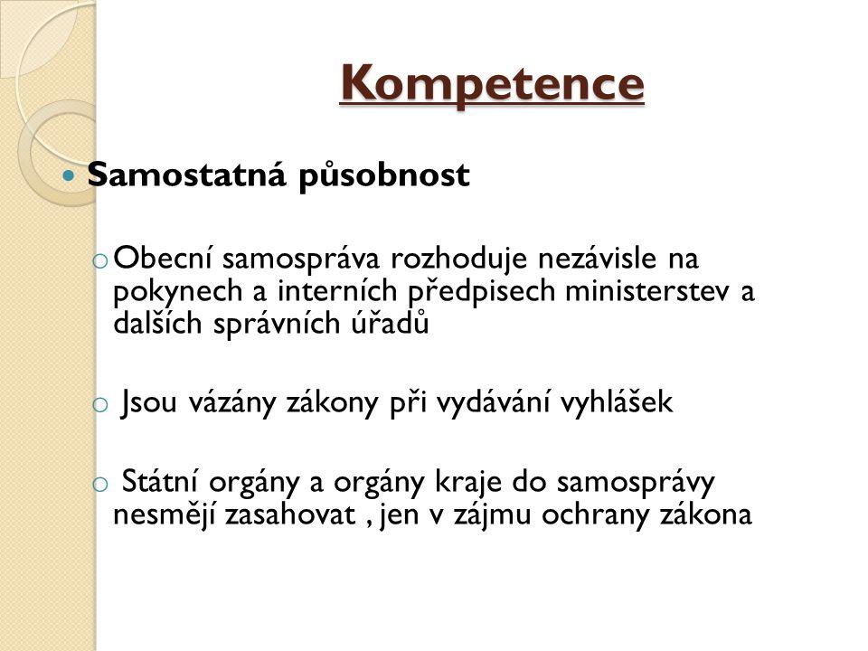 Kompetence Samostatná působnost o Obecní samospráva rozhoduje nezávisle na pokynech a interních předpisech ministerstev a dalších správních úřadů o Js