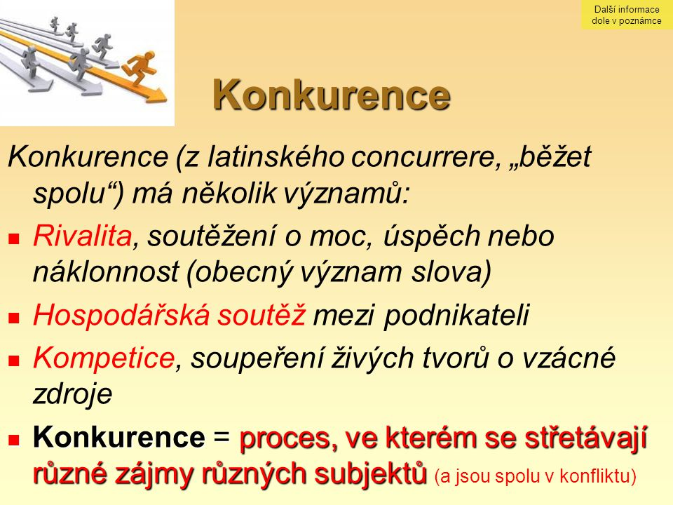 """Konkurence Konkurence (z latinského concurrere, """"běžet spolu"""") má několik významů: Rivalita, soutěžení o moc, úspěch nebo náklonnost (obecný význam sl"""