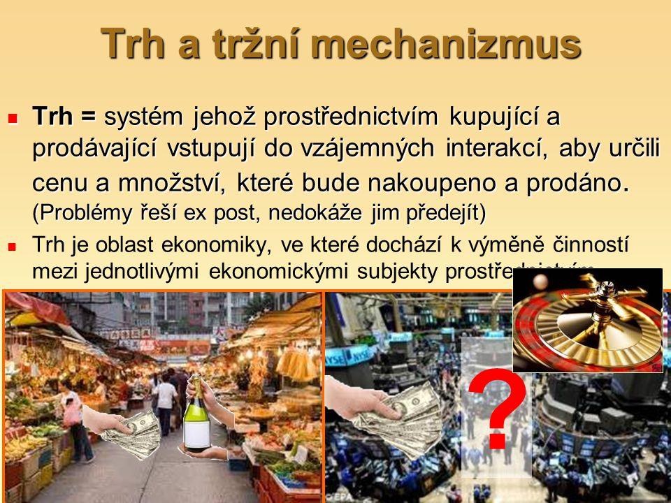 Trh a tržní mechanizmus Trh = systém jehož prostřednictvím kupující a prodávající vstupují do vzájemných interakcí, aby určili cenu a množství, které