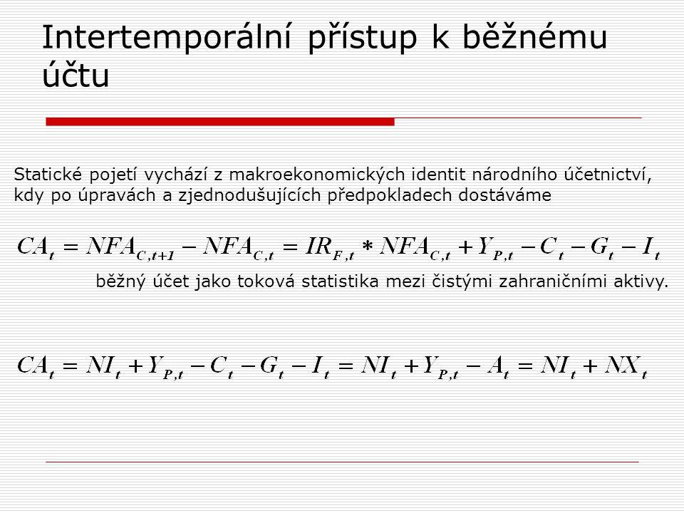 Intertemporální přístup k běžnému účtu Statické pojetí vychází z makroekonomických identit národního účetnictví, kdy po úpravách a zjednodušujících př