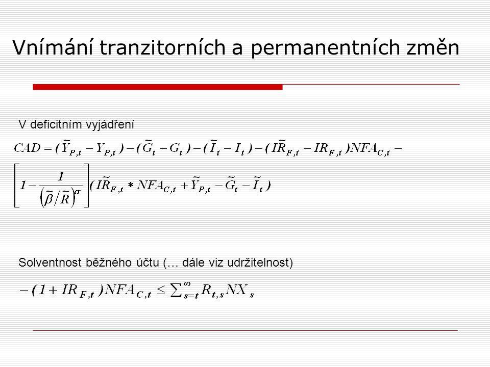 Vnímání tranzitorních a permanentních změn V deficitním vyjádření Solventnost běžného účtu (… dále viz udržitelnost)
