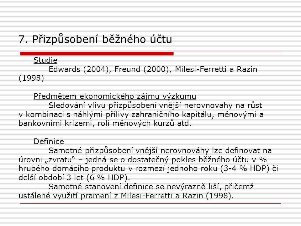 7. Přizpůsobení běžného účtu Studie Edwards (2004), Freund (2000), Milesi-Ferretti a Razin (1998) Předmětem ekonomického zájmu výzkumu Sledování vlivu
