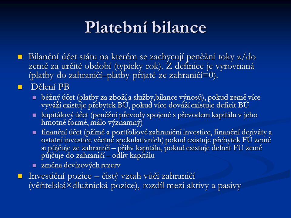 Platební bilance Bilanční účet státu na kterém se zachycují peněžní toky z/do země za určité období (typicky rok). Z definice je vyrovnaná (platby do