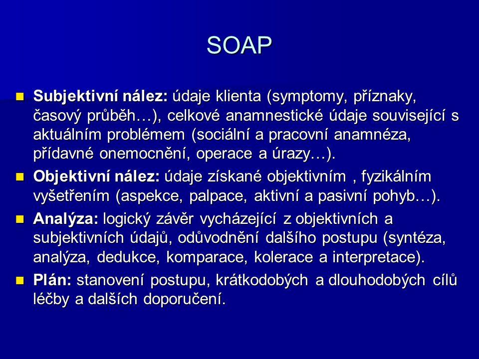 SOAP Subjektivní nález: údaje klienta (symptomy, příznaky, časový průběh…), celkové anamnestické údaje související s aktuálním problémem (sociální a p