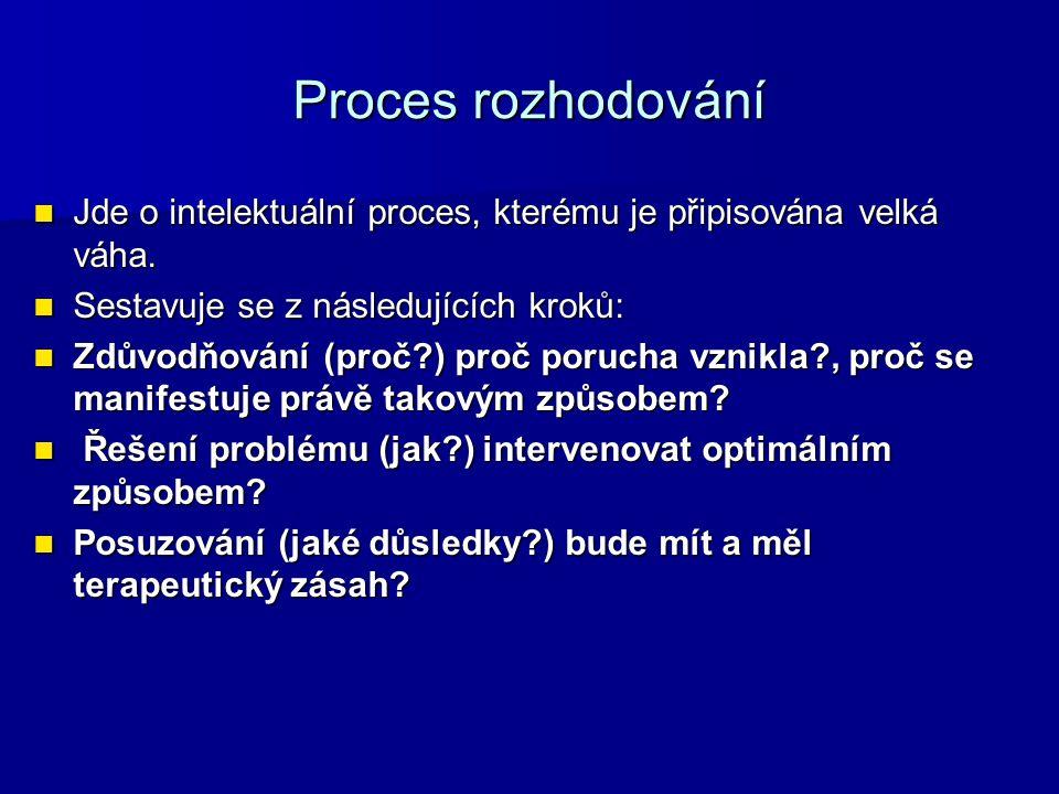 Proces rozhodování Jde o intelektuální proces, kterému je připisována velká váha. Jde o intelektuální proces, kterému je připisována velká váha. Sesta