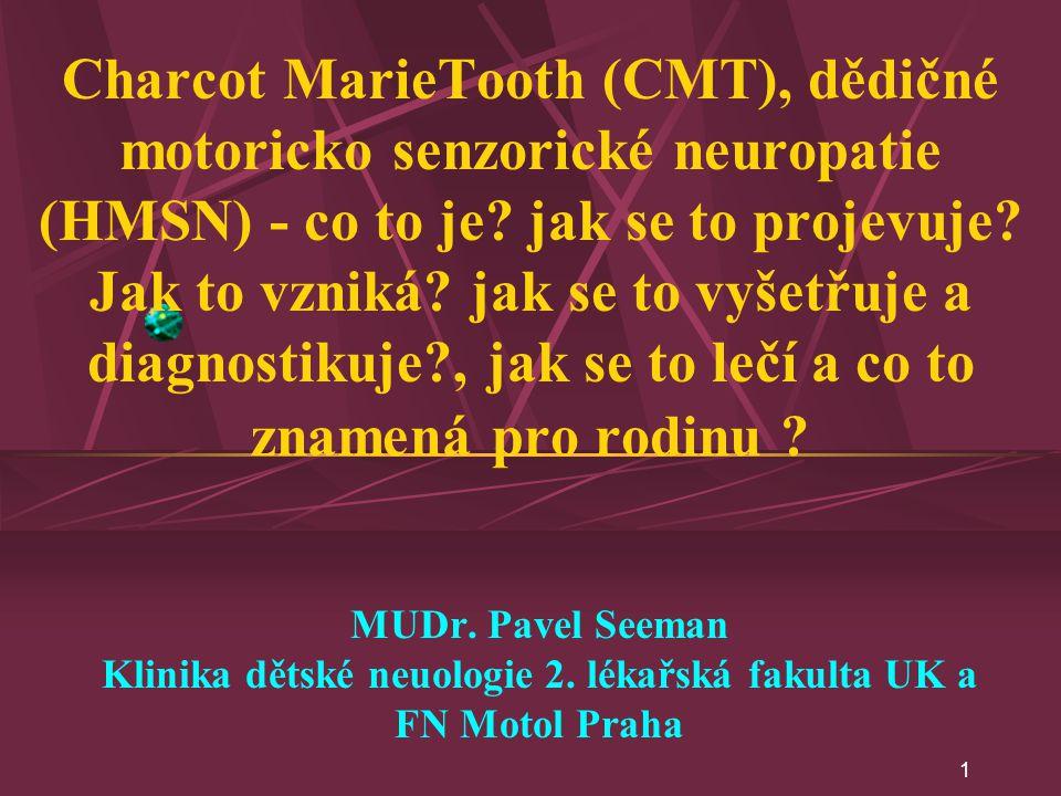 1 Charcot MarieTooth (CMT), dědičné motoricko senzorické neuropatie (HMSN) - co to je? jak se to projevuje? Jak to vzniká? jak se to vyšetřuje a diagn