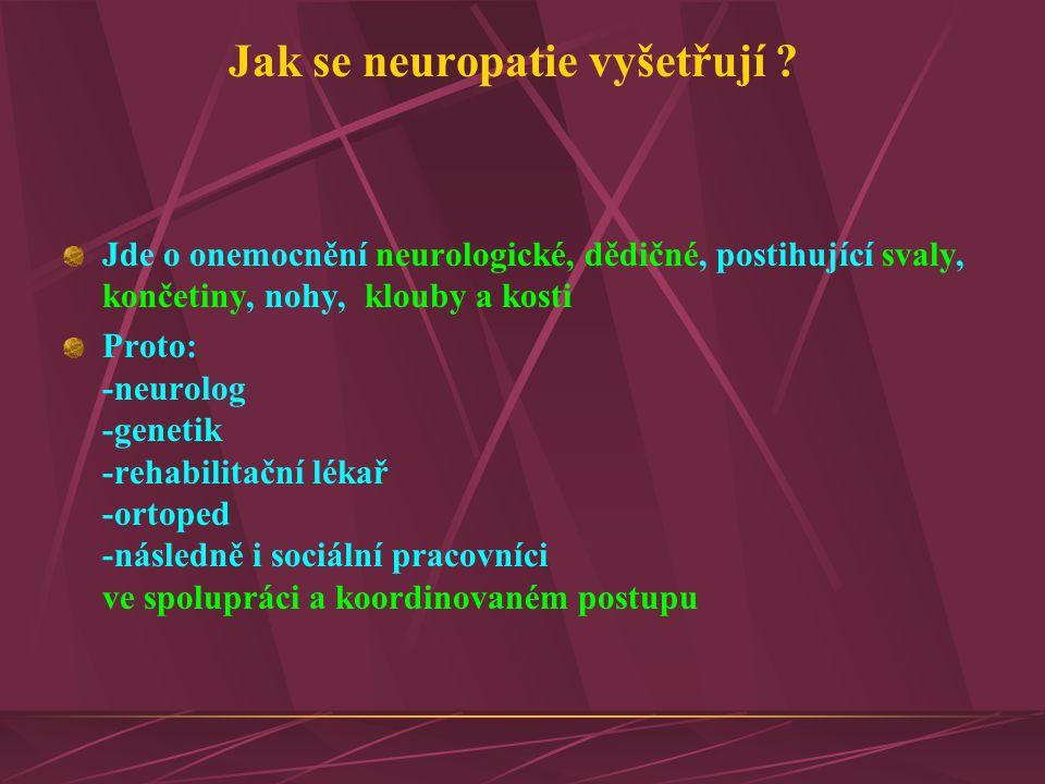 Jak se neuropatie vyšetřují ? Jde o onemocnění neurologické, dědičné, postihující svaly, končetiny, nohy, klouby a kosti Proto: -neurolog -genetik -re