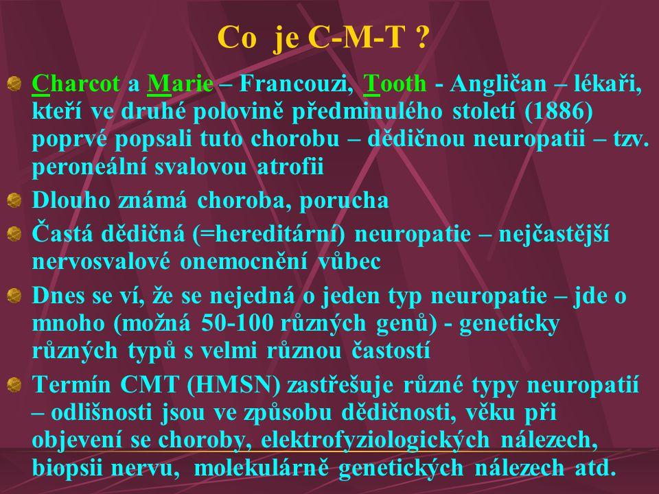 Co je C-M-T ? Charcot a Marie – Francouzi, Tooth - Angličan – lékaři, kteří ve druhé polovině předminulého století (1886) poprvé popsali tuto chorobu