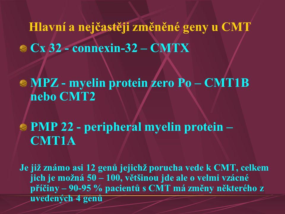Hlavní a nejčastěji změněné geny u CMT Cx 32 - connexin-32 – CMTX MPZ - myelin protein zero Po – CMT1B nebo CMT2 PMP 22 - peripheral myelin protein –