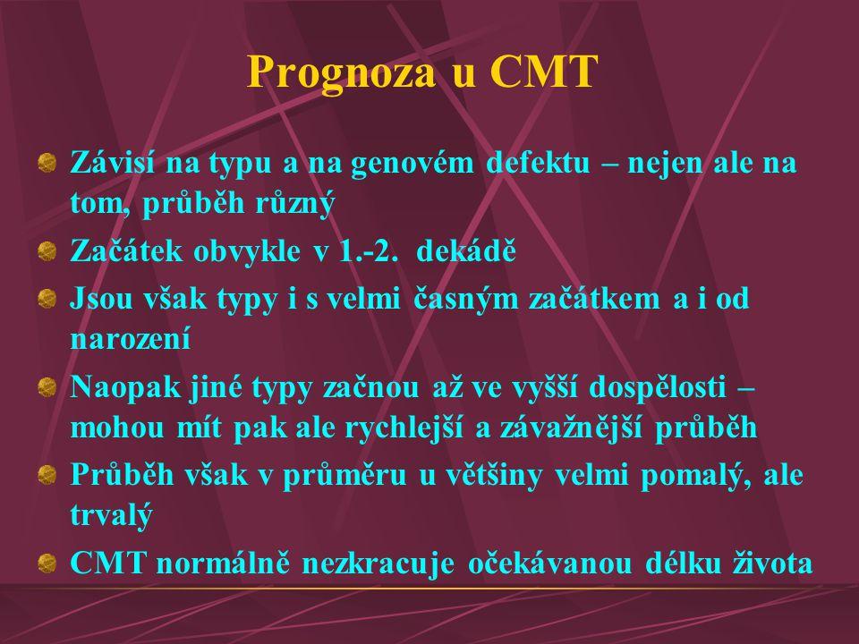 Prognoza u CMT Závisí na typu a na genovém defektu – nejen ale na tom, průběh různý Začátek obvykle v 1.-2. dekádě Jsou však typy i s velmi časným zač