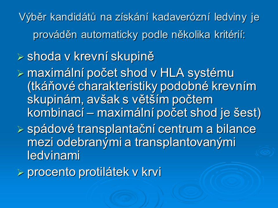 Výběr kandidátů na získání kadaverózní ledviny je prováděn automaticky podle několika kritérií:  shoda v krevní skupině  maximální počet shod v HLA
