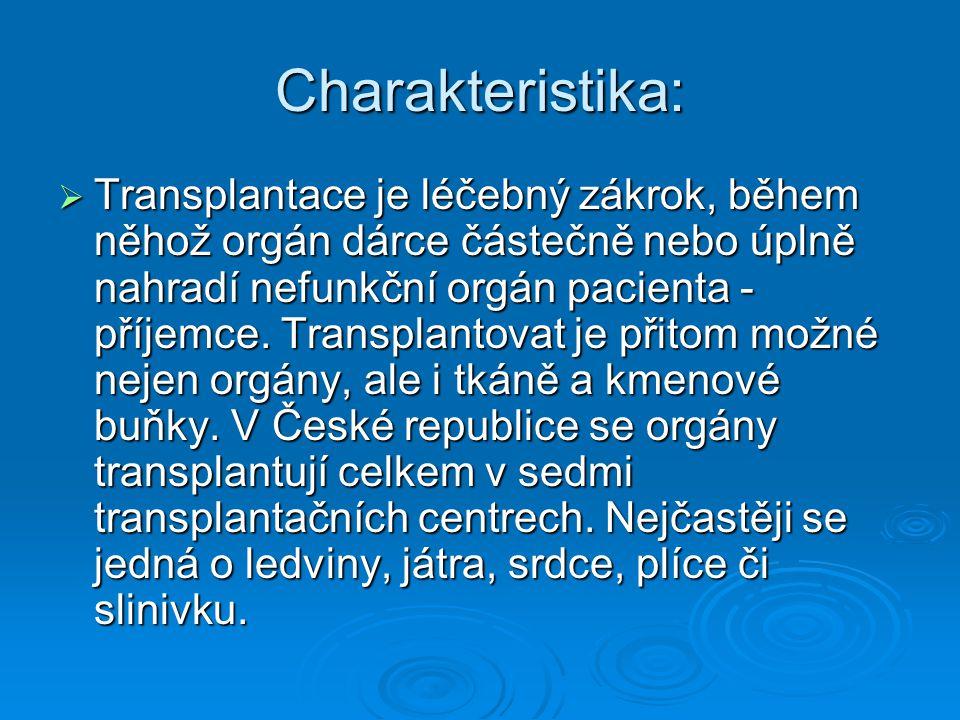 Charakteristika:  Transplantace je léčebný zákrok, během něhož orgán dárce částečně nebo úplně nahradí nefunkční orgán pacienta - příjemce. Transplan