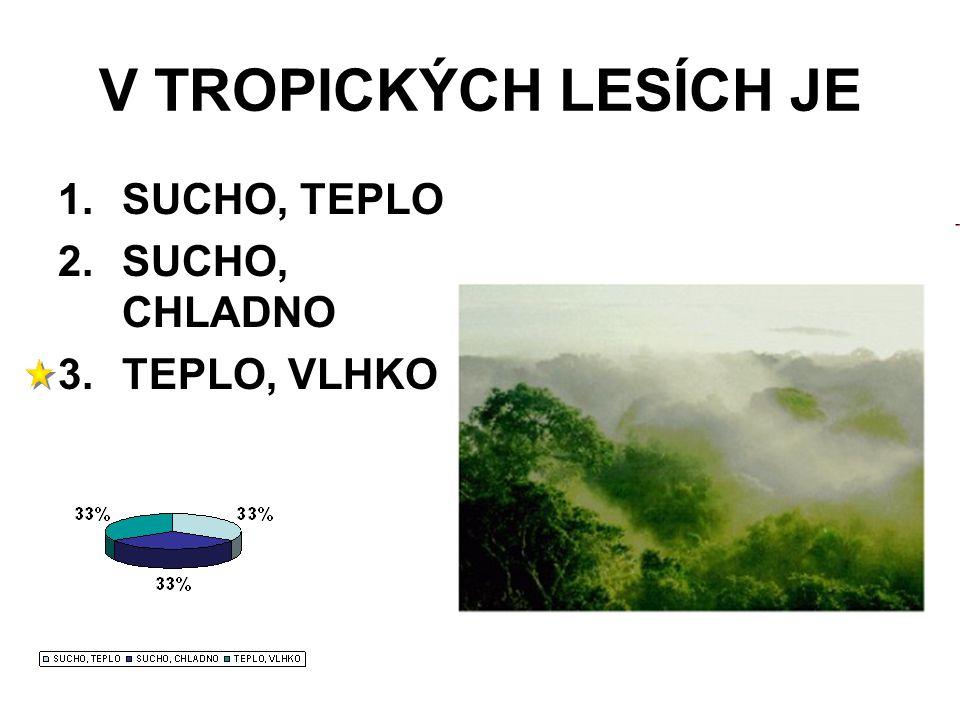 V TROPICKÝCH LESÍCH JE 1.SUCHO, TEPLO 2.SUCHO, CHLADNO 3.TEPLO, VLHKO