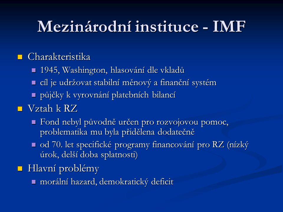 Mezinárodní instituce - IMF Charakteristika Charakteristika 1945, Washington, hlasování dle vkladů 1945, Washington, hlasování dle vkladů cíl je udržo