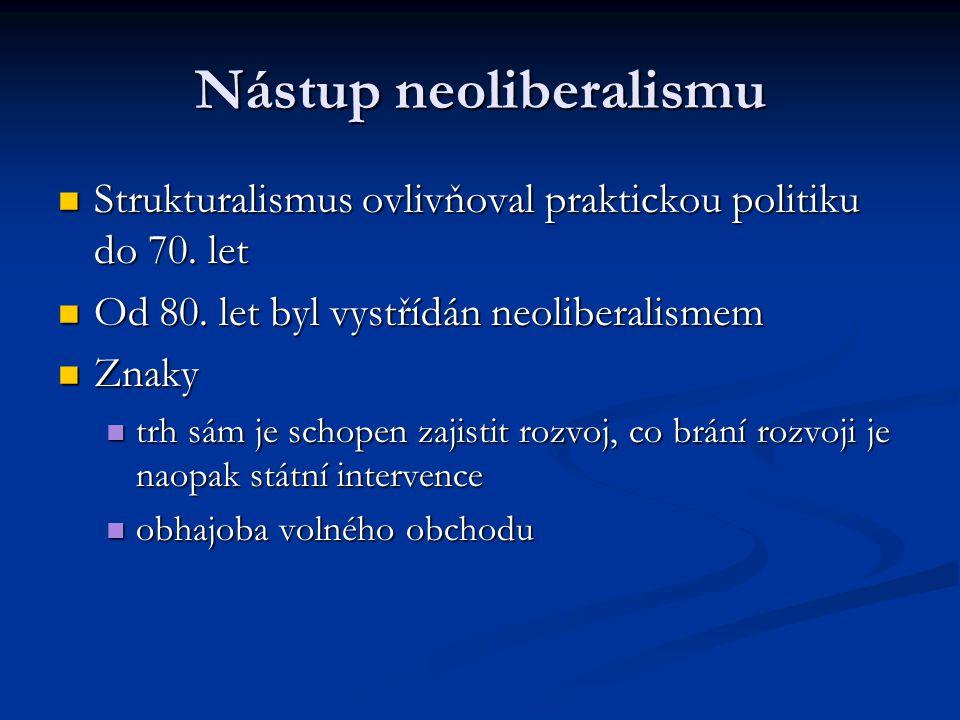 Nástup neoliberalismu Strukturalismus ovlivňoval praktickou politiku do 70. let Strukturalismus ovlivňoval praktickou politiku do 70. let Od 80. let b