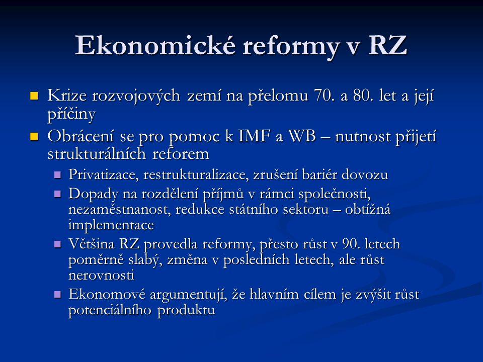 Ekonomické reformy v RZ Krize rozvojových zemí na přelomu 70. a 80. let a její příčiny Krize rozvojových zemí na přelomu 70. a 80. let a její příčiny