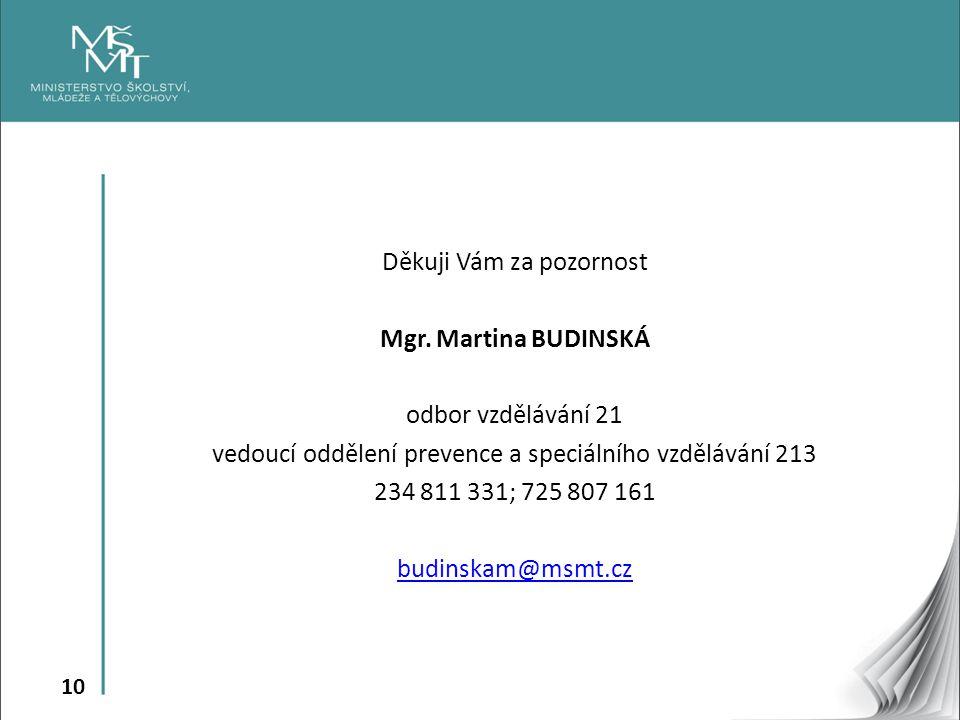 10 Děkuji Vám za pozornost Mgr. Martina BUDINSKÁ odbor vzdělávání 21 vedoucí oddělení prevence a speciálního vzdělávání 213 234 811 331; 725 807 161 b