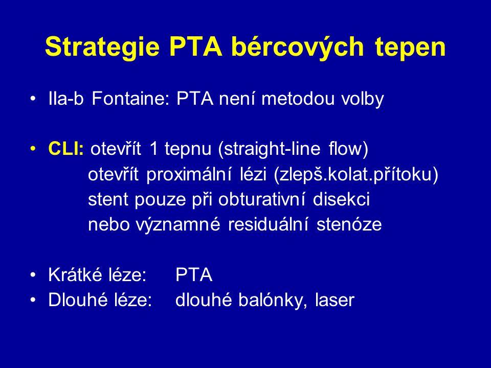 Strategie PTA bércových tepen IIa-b Fontaine: PTA není metodou volby CLI: otevřít 1 tepnu (straight-line flow) otevřít proximální lézi (zlepš.kolat.př