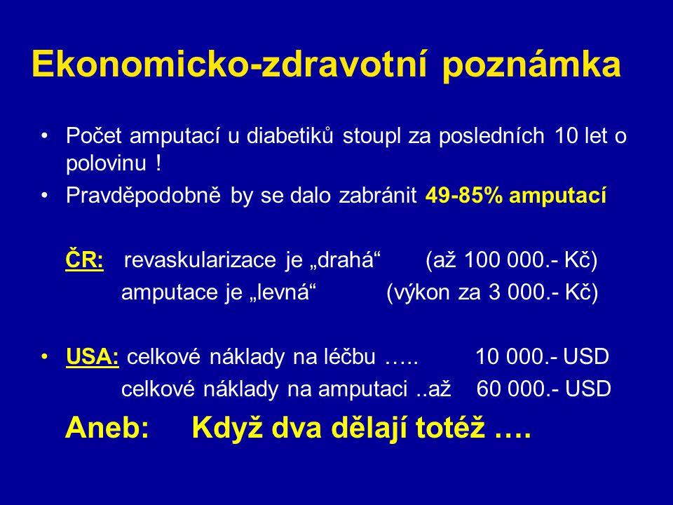 Ekonomicko-zdravotní poznámka Počet amputací u diabetiků stoupl za posledních 10 let o polovinu ! Pravděpodobně by se dalo zabránit 49-85% amputací ČR