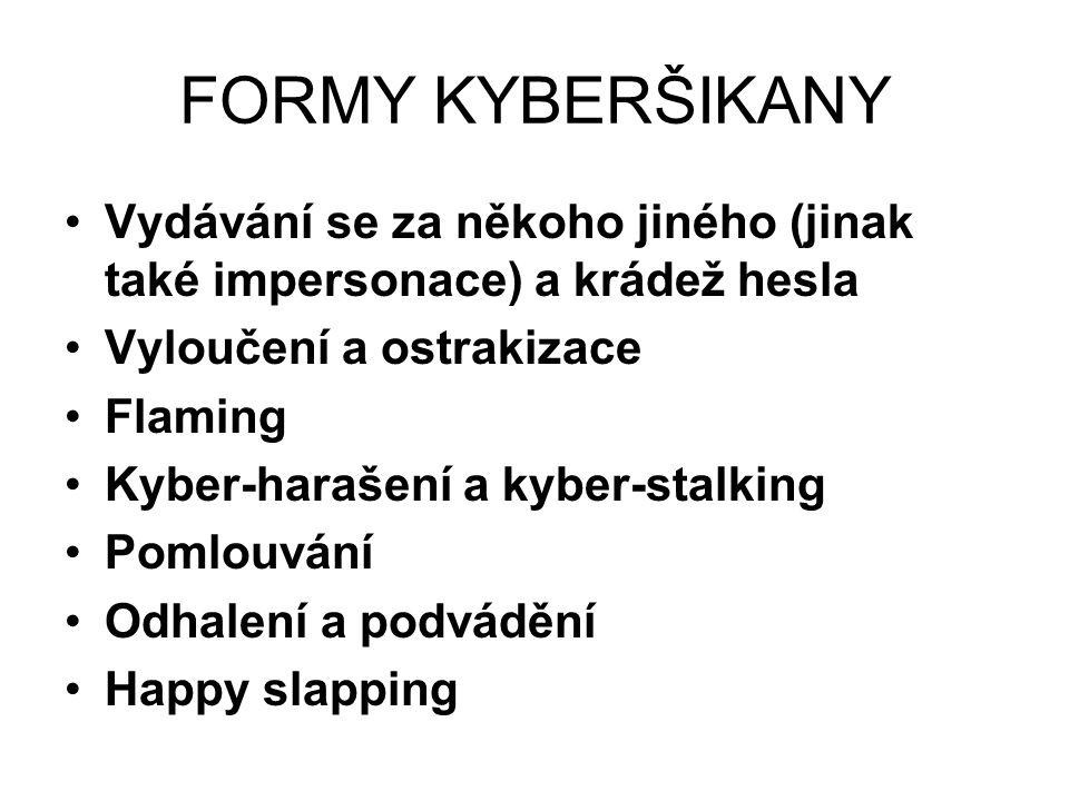 FORMY KYBERŠIKANY Vydávání se za někoho jiného (jinak také impersonace) a krádež hesla Vyloučení a ostrakizace Flaming Kyber-harašení a kyber-stalking