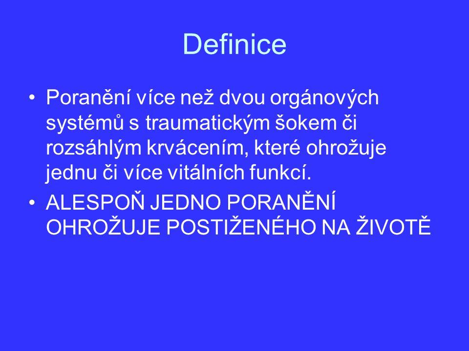Definice Poranění více než dvou orgánových systémů s traumatickým šokem či rozsáhlým krvácením, které ohrožuje jednu či více vitálních funkcí. ALESPOŇ