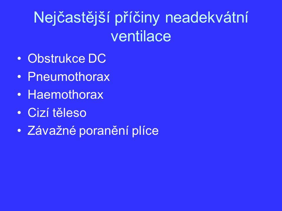Nejčastější příčiny neadekvátní ventilace Obstrukce DC Pneumothorax Haemothorax Cizí těleso Závažné poranění plíce
