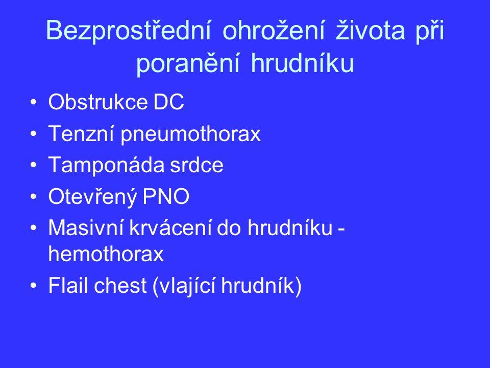 Bezprostřední ohrožení života při poranění hrudníku Obstrukce DC Tenzní pneumothorax Tamponáda srdce Otevřený PNO Masivní krvácení do hrudníku - hemot