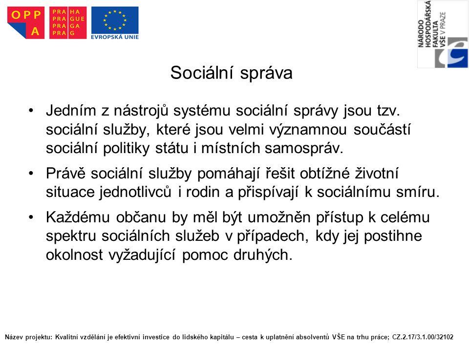 Sociální správa Jedním z nástrojů systému sociální správy jsou tzv. sociální služby, které jsou velmi významnou součástí sociální politiky státu i mís