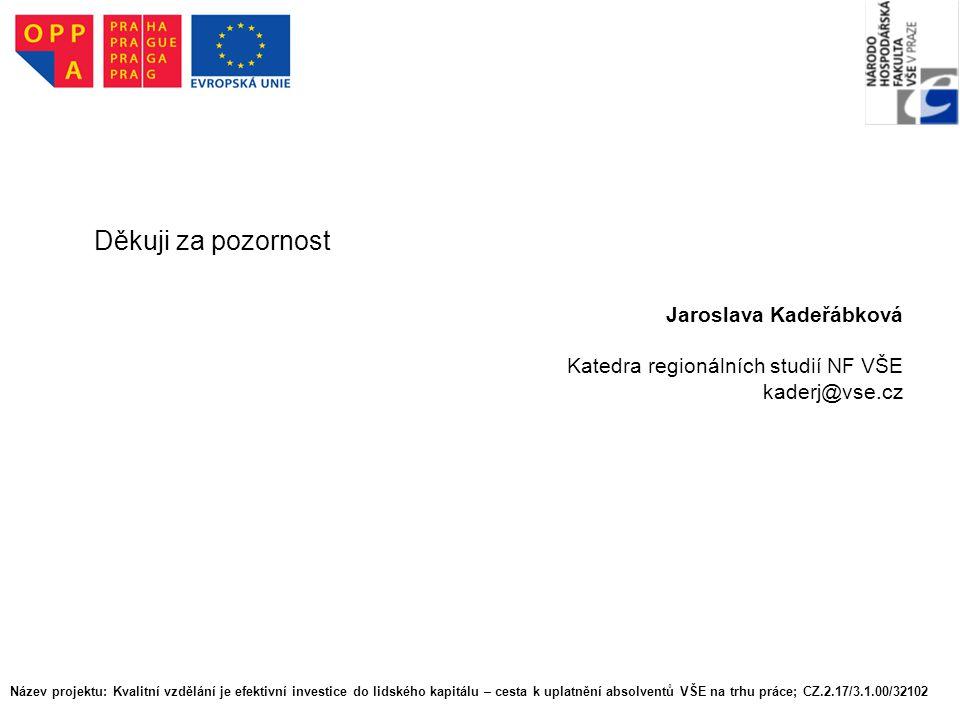Název projektu: Kvalitní vzdělání je efektivní investice do lidského kapitálu – cesta k uplatnění absolventů VŠE na trhu práce; CZ.2.17/3.1.00/32102 D