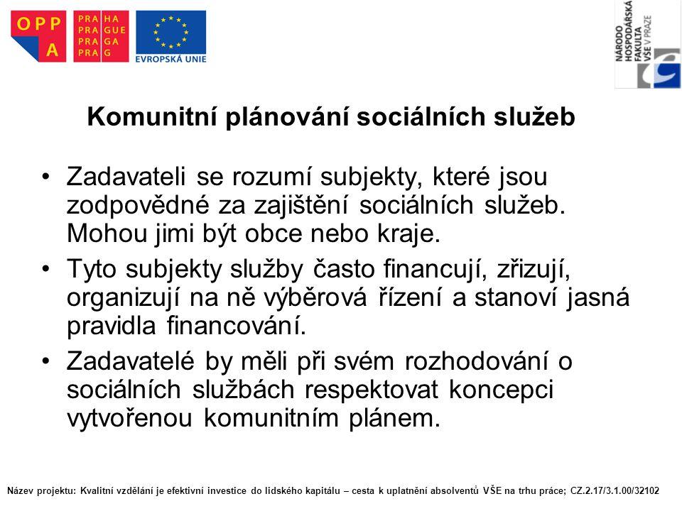 Název projektu: Kvalitní vzdělání je efektivní investice do lidského kapitálu – cesta k uplatnění absolventů VŠE na trhu práce; CZ.2.17/3.1.00/32102 Komunitní plánování sociálních služeb Poskytovatelé sociálních služeb jsou subjekty, které služby provozují, prodávají, uskutečňují.