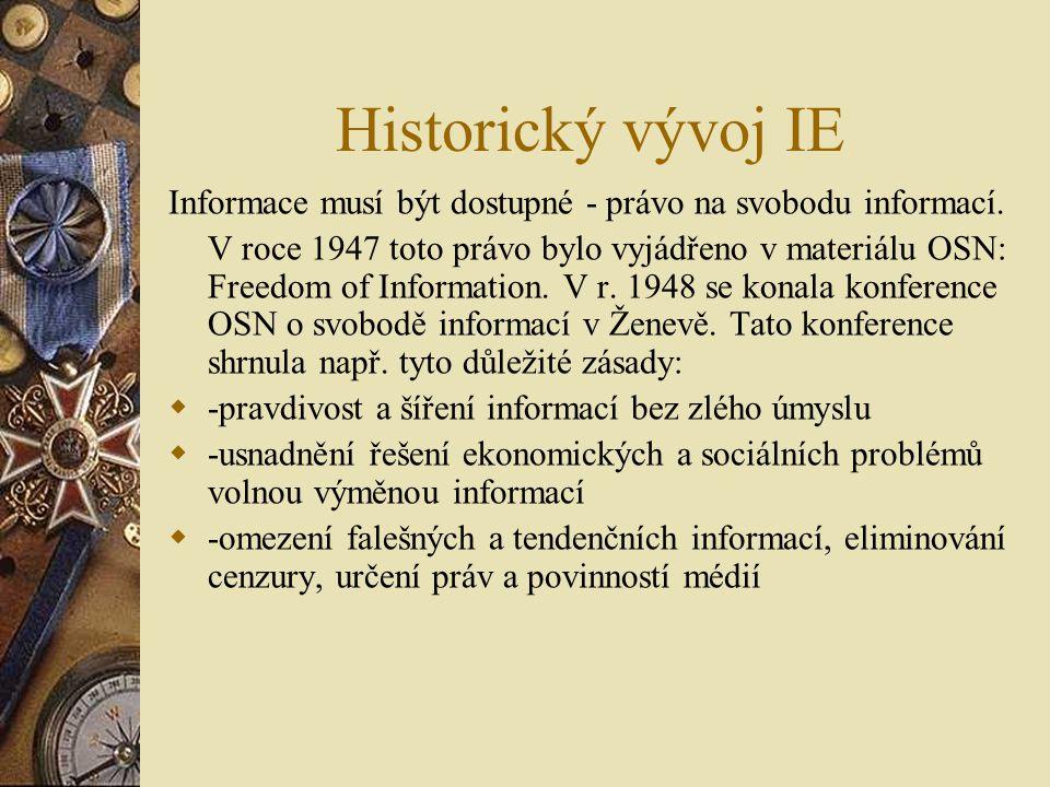 Historický vývoj IE Informace musí být dostupné - právo na svobodu informací. V roce 1947 toto právo bylo vyjádřeno v materiálu OSN: Freedom of Inform