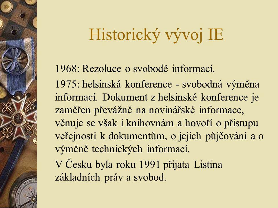 Historický vývoj IE 1968: Rezoluce o svobodě informací. 1975: helsinská konference - svobodná výměna informací. Dokument z helsinské konference je zam