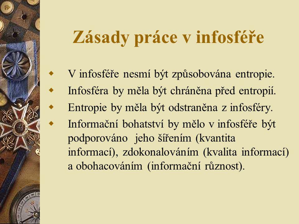 Zásady práce v infosféře  V infosféře nesmí být způsobována entropie.  Infosféra by měla být chráněna před entropií.  Entropie by měla být odstraně